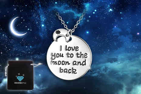 Diamond Style - White gold plated I love you to the moon and back pendant necklace - Save 91%