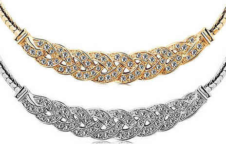 Crazee Trend - Crystal Woven Necklace gold or silver plated - Save 90%