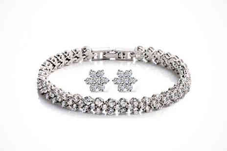 Sparkling Bracelet and Earrings - Flower Bracelet and Earrings made with Swarovski Elements - Save 86%