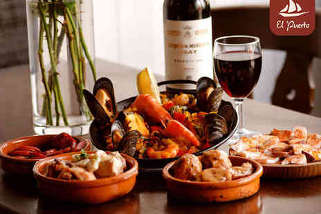 El Puerto - Eight Dish Tapas Meal to Share for Two with a Glass of Wine Each - Save 54%