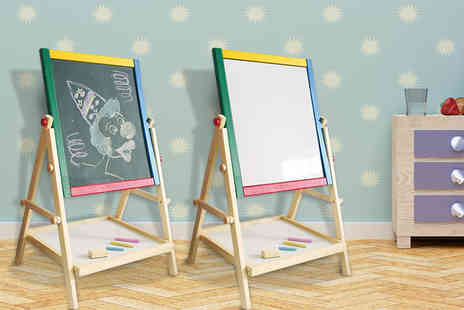 Hungry Bazaar - Two in one childrens easel drawing board with one side for chalk and one for whiteboard markers - Save 66%