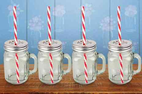 Hungry Bazaar  - Set of four glass Mason drinking jars  - Save 60%