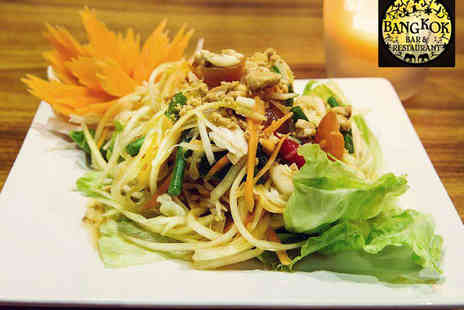 Bangkok Bar & Restaurant - Main Course with Prawn Crackers and Glass of Wine Each for Two - Save 48%