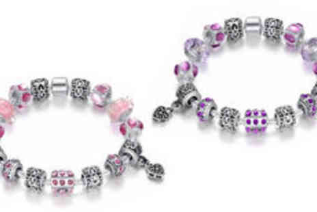 Fakurma - Murano silver plated charm bracelet in choice of colours plus delivery - Save 0%