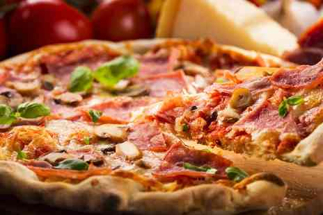 "Pizza Jazz - Two 8"" Pizzas with Soft Drinks with Wine or Beer  - Save 52%"