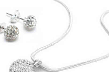 Gifts4U - Sterling Silver Shamballa Style Crystal Pendant and Earrings Set - Save 80%