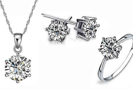 Crazee Trend - 18K White Gold Plated Solitaire Crystal Set - Save 89%