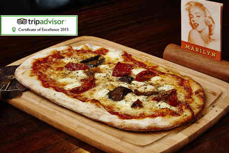 Ma Egertons Stage Door - Stone base pizza meal for two including a cheesy garlic bread and glass of Prosecco each   - Save 44%