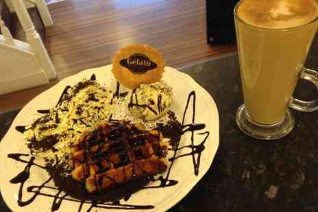 Gelato Heaven - Belgian Waffle or Crepe with Homemade Gelato Ice Cream and Drinks for Two - Save 47%