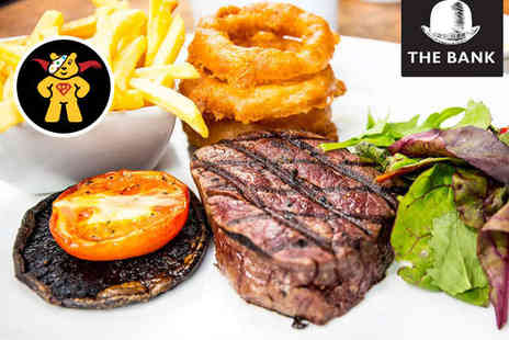 The Bank - Rib Eye Steak Meal with Glass of Prosecco, Wine or Pint of Beer for Two - Save 42%