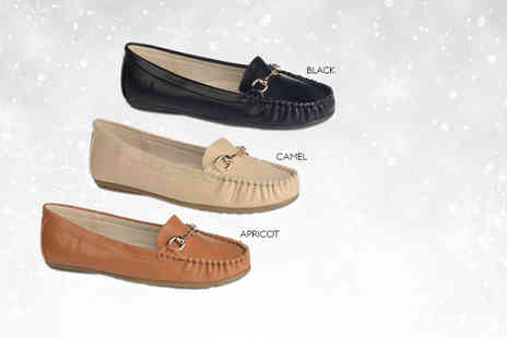 Linzi - Pair of black, camel or apricot womens moccasins - Save 41%