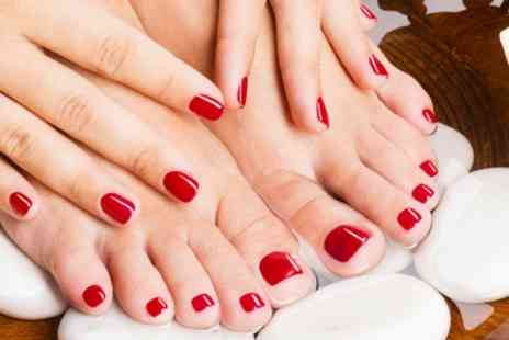 Inches Beauty Salon - Gelish Polish on Hands and Feet Plus Eyebrow Tint and Spray Tan  - Save 73%