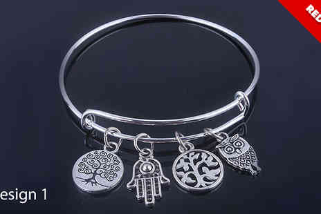 Crazee Trend - Antique Style Silver Charm Bangle - Save 70%