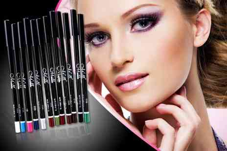 Quick Style - 24 piece set of waterproof lip and eyeliners including a faux leather makeup pouch - Save 90%