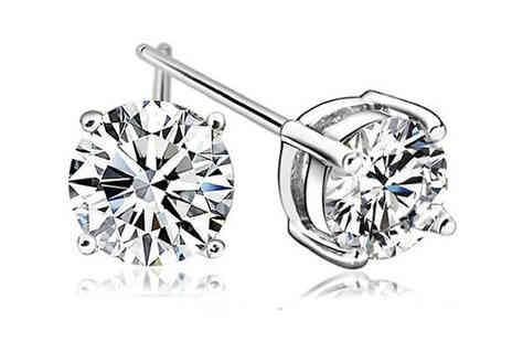 Crazee Trend - Crystal Stud Earrings Available in Two Colours - Save 95%