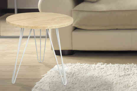 Product Shelf - Stylish Scandinavian inspired wood topped side table with metal legs - Save 57%