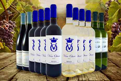 Global Deals - Rioja Spanish and French 12 Bottle Wine Selection - Save 63%