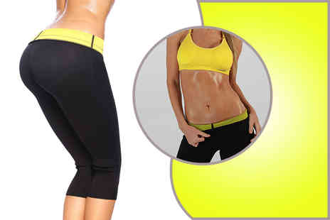 121 Mart - Pair of black sauna capri exercise pants  - Save 67%