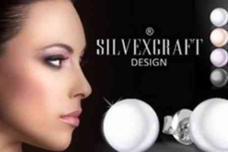 Silvexcraft - One Pairs of Sterling Silver Pearl Earrings With Swarovski Elements - Save 65%