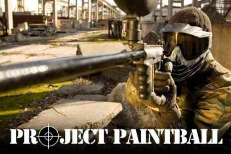 Project Paintball - Day of Paintballing With Full Kit, 100 Paintballs, Lunch and Hot Drink for £3 - Save 82%