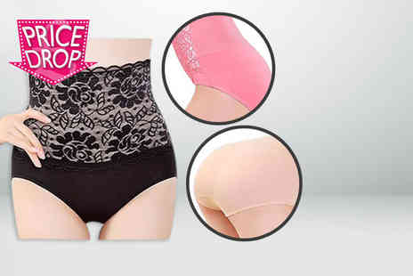Fizzy Peach - Pack of three lace topped, high waisted control panties in black, beige and  pink - Save 84%
