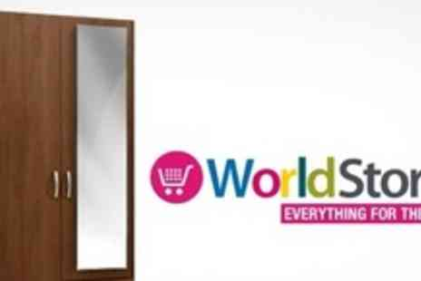 Worldstores.co.uk - Dorchester Walnut Two Door Bedroom Wardrobe With Mirror and Drawers - Save 50%