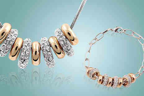 Crazee Trend - Gold and Silver Crystal Duo Set - Save 88%