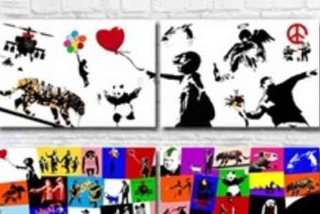 Whats On Your Wall - White or Multi Coloured Banksy Print - Save 63%