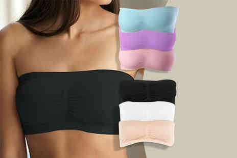 Fizzy Peach - Pack of three seamless bandeau bras choose black, white and beige, or blue, pink and purple  - Save 88%