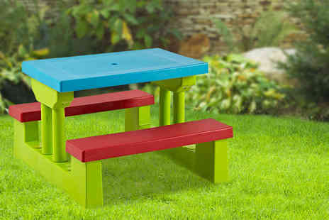 Hungry Bazaar - A kids colourful wooden picnic table - Save 57%