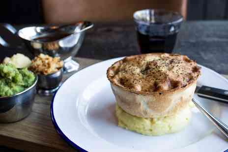 Pieminister Restaurant - Pieminister Pie With Mash, Mushy Peas & Gravy with Beer or Wine - Save 43%