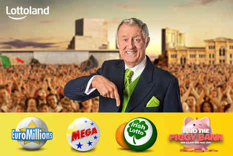 Lottoland - Bet on one line each in the EuroMillions, US MegaMillions, Irish Lotto and five Raid The Piggy Bank scratchcards - Save 72%