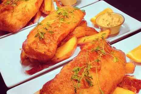 The Kentford - Ale Battered Fish and Triple Cooked Chips with Optional Bottle of Wine for Two or Four - Save 54%