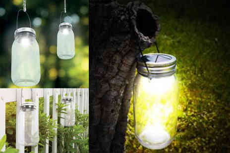 Hungry Bazaar - Two solar powered hanging mason jar lights - Save 60%