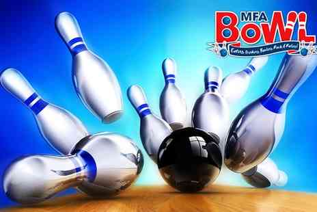 MFA Bowl - Two Games of Bowling for Up to Four or Six - Save 64%