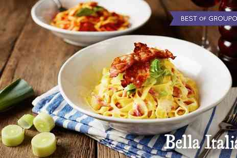 Bella Italia - New Bella Italia Menu Two Course Meal with Wine or Peroni or Three Course Meal with Prosecco - Save 52%