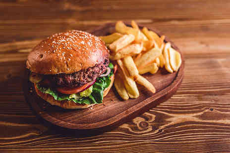 Portland Grill - Gourmet burger meal for two people with a side of steak cut chips each - Save 35%