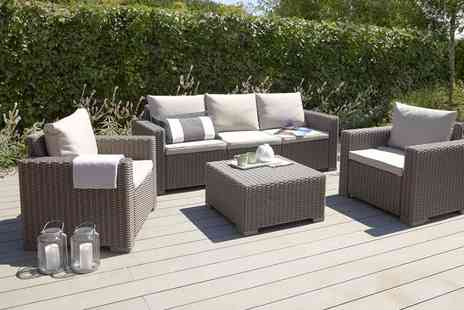 Out and Out Original - California five seater taupe rattan lounge set - Save 43%