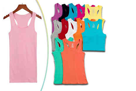 Buy Bay - Womens twelve pack of ribbed vests in twelve different colours - Save 72%