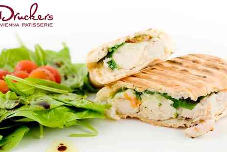 Druckers Vienna Patisserie - Panini, Slice of Gateau and Drink for One or Two - Save 32%