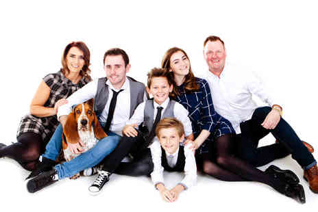 Premier Photography - One hour pet and family photoshoot for up to 12 people with 12 prints - Save 0%
