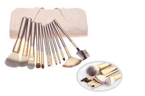 Heads Group - 12 piece champagne gold makeup brush set - Save 67%