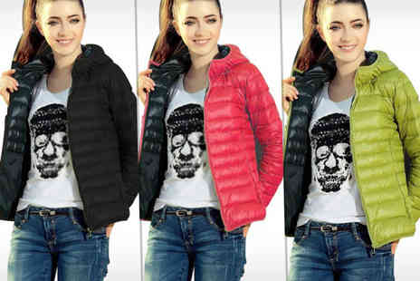 Buy Bay - Womens quilted hooded jacket choose from black, green and red - Save 60%