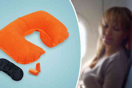 Fusion - Travel Pillow Set With Sleep Mask & Earplugs - Save 70%