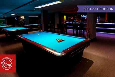 Rileys Sports Bars  - Cheeseburger, Fries, Beer, Membership and Up to Two Hours of Pool - Save 54%