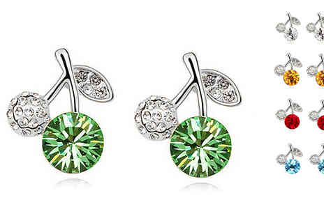 Crazee Trend - 18K White Gold Plated Crystal Apple Earrings - Save 85%
