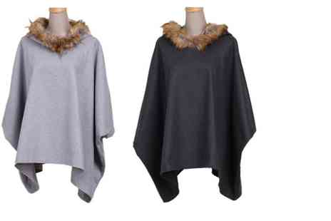 Dress Room - Stylish hooded batwing coat with faux fur trim - Save 70%