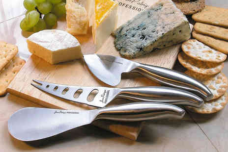 Jean Patrique - Three piece cheese knife set with traditional cheese board - Save 73%