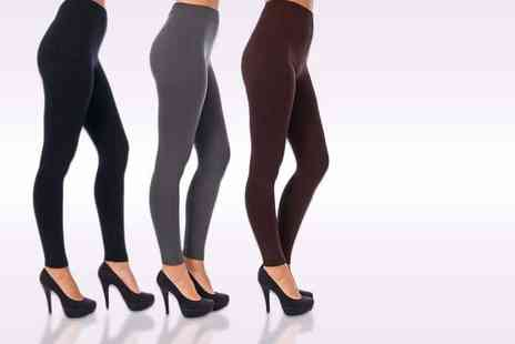 121 Mart - Fleece lined leggings choose black, grey or wine colour - Save 80%