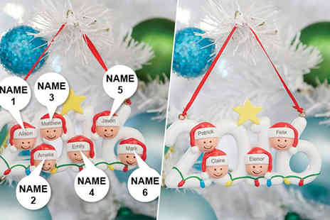 Identity Direct - Personalised family Christmas tree ornament add two, three, four, five or six family members - Save 46%